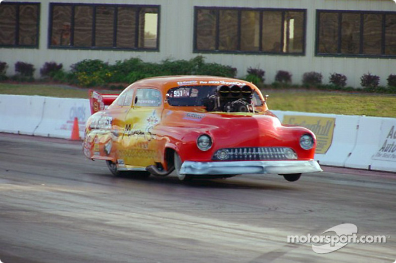 Paul Athey, the driver of Johnny Rocca's 'Ironhorse' '51 Pro Modified