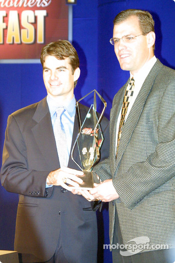 Jeff Gordon accepting the Bud Pole Award at the NASCAR Winston Cup Awards Banquet