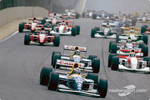 The start: Alain Prost, Damon Hill and Ayrton Senna