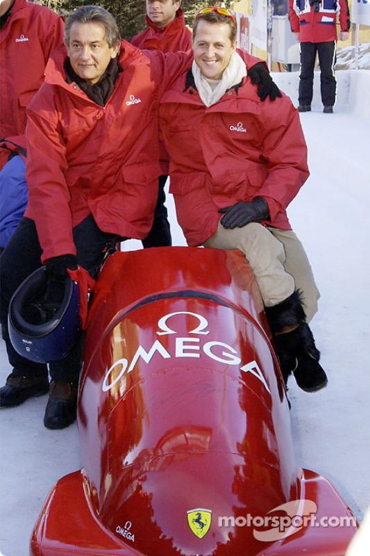 Bobsleigh ride for Michael Schumacher