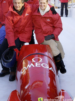 Bobsleigh ride for Michael Schumacher