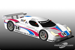 Brumos Motor Cars will return to professional competition in 2003 with a Fabcar-designed, Porsche-powered Daytona Prototype coupe; shown is a rendering of Brumos' Daytona Prototype coupe, which will be driven by Hurley Haywood and J.C. France