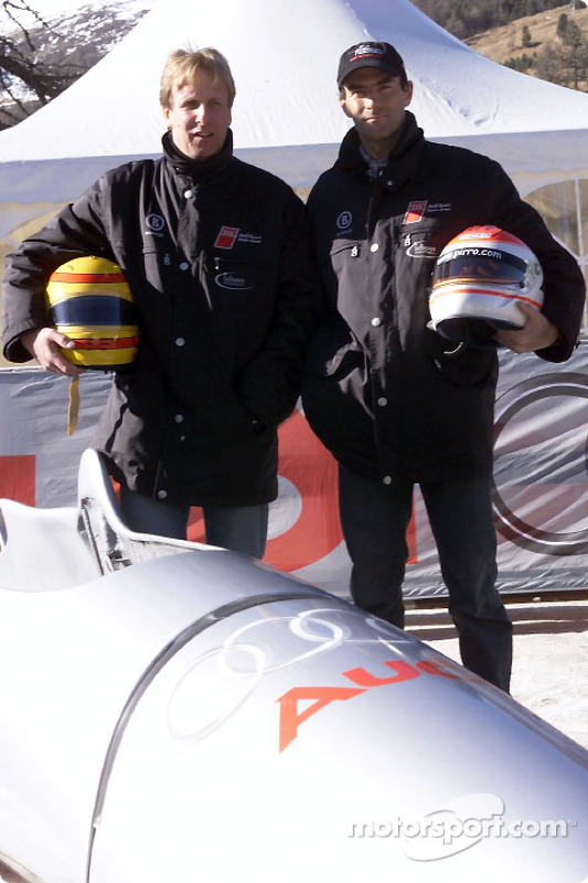 Frank Biela and Emanuele Pirro with the Audi bobsled on the Olympic run in St. Moritz