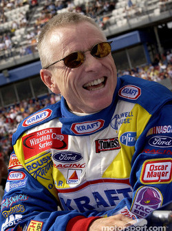 Mark Martin with a special sponsor, Kraft, sports a cheezy smile before the start of the race
