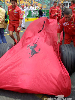 Team Ferrari arriving at technical inspection