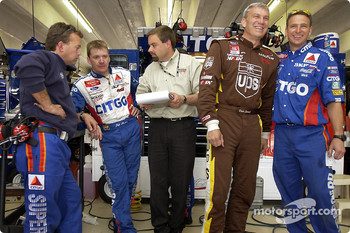 Dale Jarrett spending some time with the CITGO Ford team and Jeff Burton
