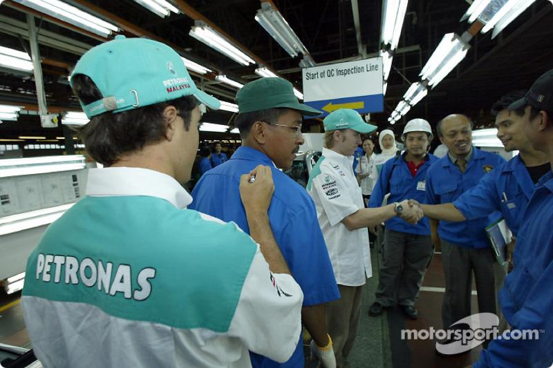 Visit at Proton car factory in Shah Alam: Felipe Massa and Nick Heidfeld