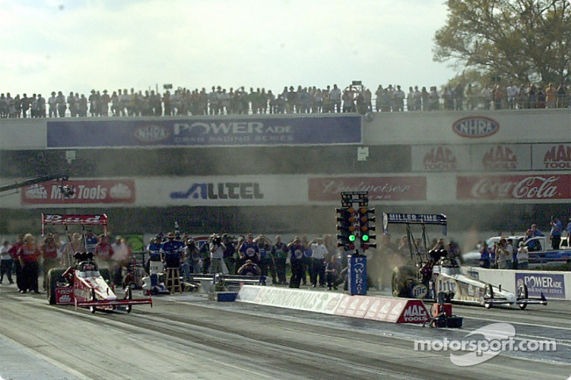 Top fuel final round becomes another battle of the beer wagons as Bernstein goes against Dixon