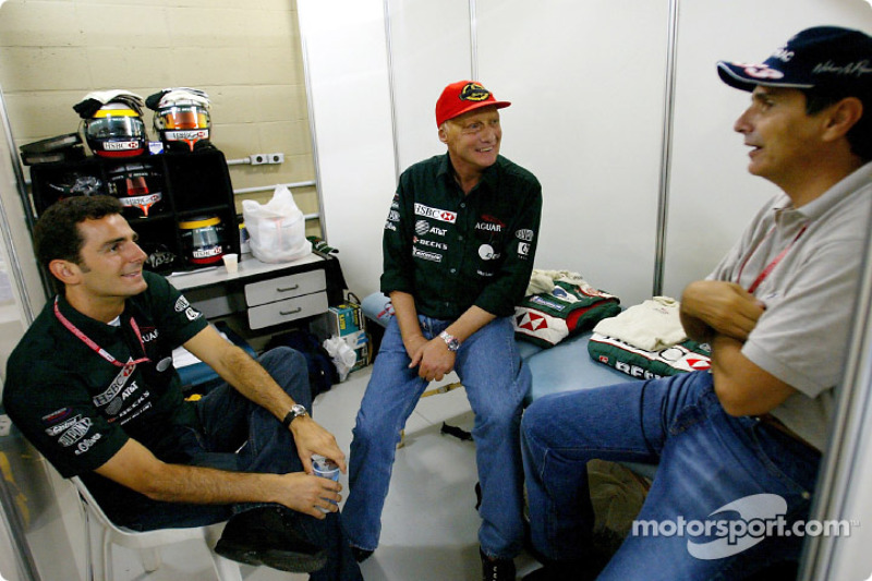 Pedro de la Rosa, Niki Lauda and Nelson Piquet