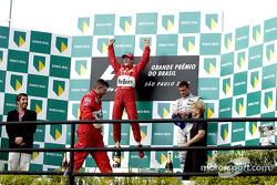 The podium: race winner Michael Schumacher and David Coulthard