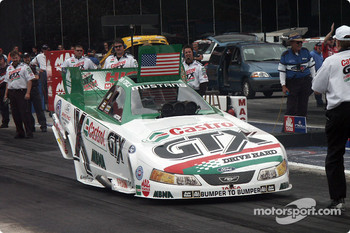 John Force airs out his Castrol Mustang