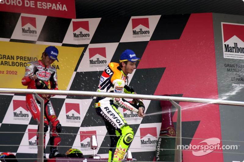 Rossi sprays crowd