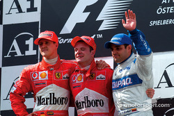 The podium: Michael Schumacher, Rubens Barrichello and Juan Pablo Montoya
