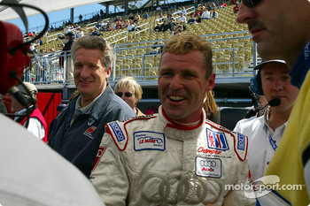 Tom Kristensen celebrating his pole position