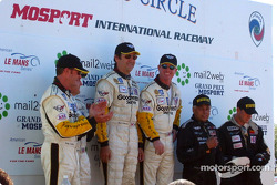 The GTS podium: winners Ron Fellows and Johnny O'Connell with Andy Pilgrim, Kelly Collins, Terry Borcheller and Franz Konrad