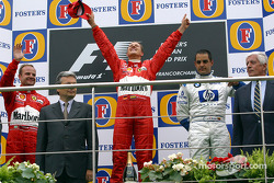 The podium: race winner Michael Schumacher with Rubens Barrichello and Juan Pablo Montoya