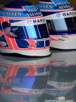 Jenson Button and Jarno Trulli's helmets