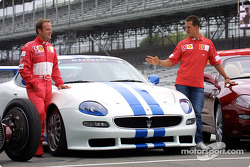 Rubens Barrichello and Michael Schumacher with the Maserati Trofeo
