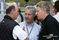 Head of Audi Sport Dr Wolfgang Ullrich, Member of the Board AUDI AG Dr Werner Mischke and Len Hunt from Audi of America