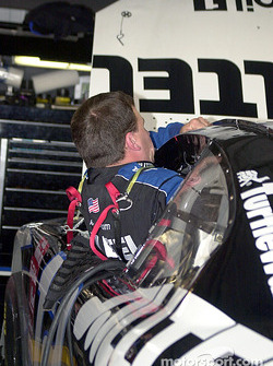 Ryan Newman climbs into his car