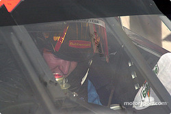 Kurt Busch getting his helmet off