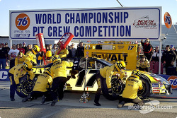 The Dewalt Power Tools Ford Crew set a New World Record time for the win in the 76 Pit Crew competition of 16.823 seconds