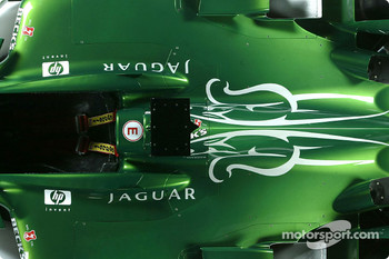 Detail of the new Jaguar R4 photographed at Ford's Proving Ground in Lommel, Belgium