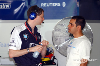 Juan Pablo Montoya and race engineer Gordon Day