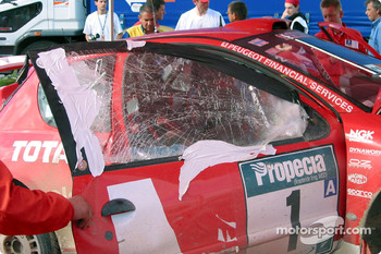 Damage on Marcus Gronholm's car