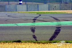 Scene of Juan Pablo Montoya's crash on day 1