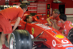 Michael Schumacher in the new Ferrari F2003-GA