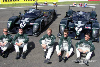 The Bentley drivers: Johnny Herbert, David Brabham, Mark Blundell, Tom Kristensen, Rinaldo Capello and Guy Smith