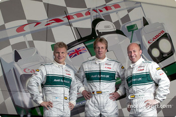 Audi Sport UK drivers for the 2003 Le Mans 24 Hour race: Mika Salo, Frank Biela and Perry McCarthy