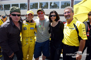 Bono, Giancarlo Fisichella, Brian O'Driscoll, wife of Bono and Eddie Jordan