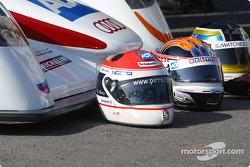 Team presentation: #6 Champion Racing Audi R8: J.J. Lehto, Stefan Johansson, Emanuele Pirro helmets