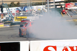 Race winner Robby Gordon celebrates victory
