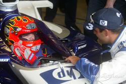 Jeff Gordon listens to Juan Pablo Montoya's advice