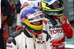 Jacques Villeneuve and Cristiano da Matta in parc fermé