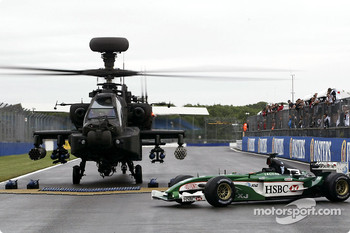 The British Army Augusta Westland Apache arrives on the Silverstone track