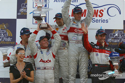 Overall and LMP900 podium: race winners Frank Biela and Marco Werner, with J.J. Lehto, Johnny Herbert, Olivier Beretta and David Saelens