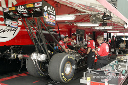 Doug Kalitta's crew is hard at work on his car