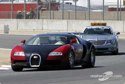 New Bugatti on a parade lap.  The car has 1000-hp with a list price of $1M
