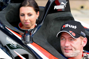 Verstappen and his ex-wife in the Minardi two-seater in 2003
