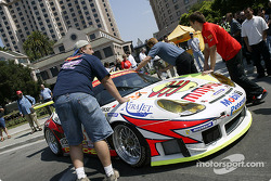 Petersen Motorsports Porsche 911 GT3RS is pushed into a parking spot