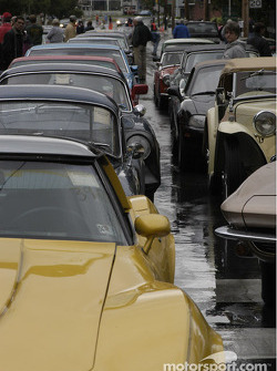 Montour Falls, cars line up for the start of the rally