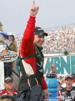Ryan Newman displays a sign of victory