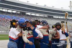 Brendan Gaughan's crew celebrates victory