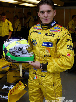 Giancarlo Fisichella shows his new helmet