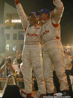 Race winners JJ Lehto and Johnny Herbert celebrate