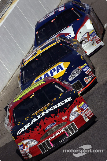 Greg Biffle, Michael Waltrip and Jeff Burton
